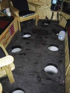 Ice fishing shack interior...(I could probably enjoy ice fishing more if I had one of these shacks! LOL!)