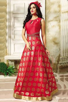 Show details for Astounding red silk anarkali with zari