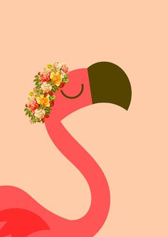 Be a Flamingo in a Flock of Pigeons. SIMPLE PINK FLAMINGO FLORAL WREATH POSTER. More Colourful and Modern Printables for Kids Room or Nursery Wall Art please visit LetuvePosters