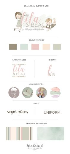 Don't you just love the soft, pastel colours in this small business branding concept? As it's for a children's clothing line for both boys and girls, I've kept away from using just stereotypical pink and blue and kept it more gender neutral with these muted tones. The beautiful script and sans serif font are just darling together, too, and work well in both the full logo and monogram. Wonderland Graphic Design (© 2016).