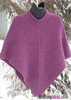 50 x 50 Poncho Knitting Pattern, pdf, garter stitch, chunky – chunky knitting stitches Poncho Knitting Patterns, Knitted Poncho, Knitting Stitches, Knit Patterns, Free Knitting, Knitted Shawls, Crochet Shawl, Yarn Sizes, Circular Knitting Needles