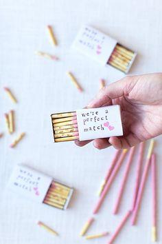 We're a perfect match mini matchbox Valentine's Day gift idea