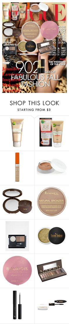 Jennifer Lawrence Inspired Makeup Tutorial! by oroartye-1 on Polyvore featuring beauty, Urban Decay, tarte, rms beauty, Terre Mère, L'Oréal Paris, NYX, Garnier, Bourjois and Revlon