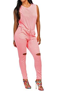 Fixmatti Women's Sleeveless Drawstring Knee Hole Pants Jumpsuits Rompers Pink - http://our-shopping-store.com