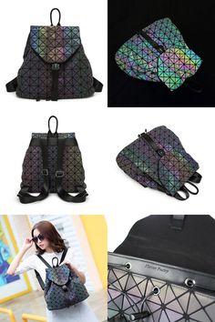 [Visit to Buy] BaoBao Luminous backpack female Fashion Mochila Feminina Geometry Package Sequins Folding Bags school bags for Teenage girl #Advertisement