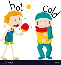 Illustration about Opposite adjectives hot and cold illustration. Illustration of clipart, summer, little - 60796987 Learning English For Kids, English Worksheets For Kids, English Lessons For Kids, Kids English, English Activities, English Language Learning, Preschool Education, Preschool Learning Activities, Teaching Kids