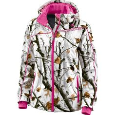 Legendary Whitetails Ladies Snowdrift Softshell Snow Large Big Game® Snow Camo Polly Fill Insulation Zippered Pockets Insulated zip off hood Zip off hood White Camo, Pink Camo, Women's Camo, Realtree Camo, Hunting Camo, Hunting Stuff, Pink White, Camo Outfits, Girl Outfits