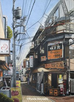 The Art Of Animation — Ryota Hayashi - . Aesthetic Japan, City Aesthetic, Japanese Buildings, Japanese Architecture, Environment Concept Art, Environment Design, Manga Art, Anime Art, Anime Places