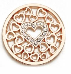 Rose Gold Hearts with Crystal Heart Center Coin for Coin Lockets