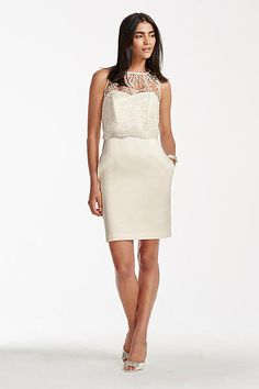 Ivory Ruffle Applique Bodycon Dress. Short Strapless Satin Sheath with  Popover Shirt SDWG0246 0837cffd1