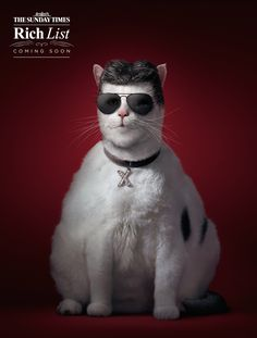"""Elton John, Richard Branson and Simon Cowell are fat cats indeed in these ads promoting the British newspaper's """"Rich List."""""""