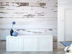 White wood panel wall mural