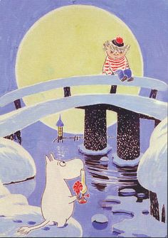 Moomin and his friend Too-Ticky (Trois Pommes in French). A very nice illustration! Moomin Books, Moomin Shop, Moomin Valley, Tove Jansson, Georges Braque, Children's Book Illustration, Childrens Books, Fairy Tales, Character Design
