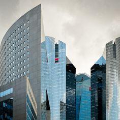 Modern towers in La Defense in Paris, France