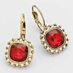Gold and Red Rhinestone Cocktail Earrings