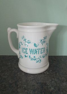 Antique China Ice Water Pitcher Blue and White by looseendsvintage