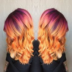 And long sunset hair will make you feel things. Sunset Hair Is Here And It's Drop Dead Beautiful Funky Hairstyles, Pretty Hairstyles, Hairstyle Men, Formal Hairstyles, Bride Hairstyles, Hairstyle Ideas, Hair Ideas, Love Hair, Gorgeous Hair