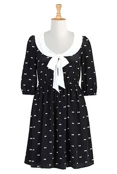 Tie neck bow print crepe dress
