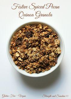 Festive Gluten-Free Spiced Pecan Quinoa Granola | Strength and Sunshine @RebeccaGF666