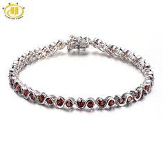 "Hutang 7.04Ct Natural Garnet S Link Bracelet Solid 925 Sterling Silver women's Round Gemstone Fine Jewelry 7.25"""