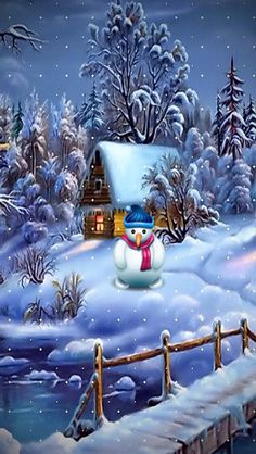 Snowman christmas art bridge pond tree house