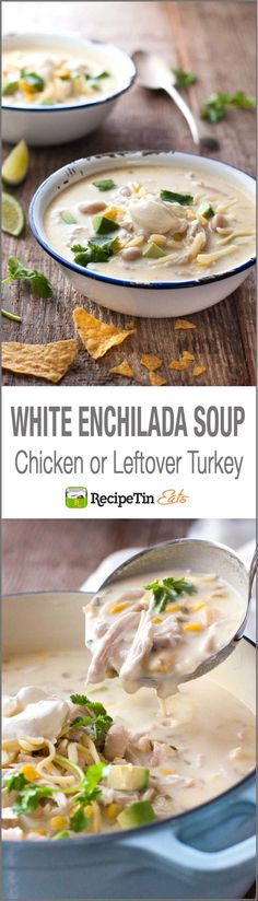 If you love Enchiladas and creamy soups, this is White Enchilada Soup is for you. It's a It tastes like this ever popular Creamy White Chicken Enchiladas.except its in soup form! Turkey Enchiladas, White Chicken Enchiladas, Chicken Enchilada Soup, Chili Recipes, Mexican Food Recipes, Soup Recipes, Chicken Recipes, Cooking Recipes, Soups