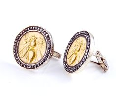 Gold Bee - Ancient Coin - Cuff Links - 925 Sterling Silver - 18k GP - Cubic Zirconia - Mens Gift Item - Groomsmen Gift