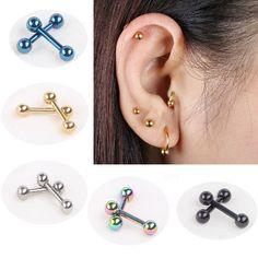 2 יחידות מסמר עצם אוזן הרבעה פירסינג עגיל משקולת אוזן סליל סחוס tragus אוזן פירסינג כסף שחור זהב טבעת לגברים נשים