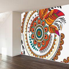 Autumn Mandala Wall Mural – Graffiti World Diy Wall Painting, Mandala Painting, Mural Painting, Mandala Art, Wall Art Designs, Paint Designs, Wall Design, Design Bedroom, Design Design