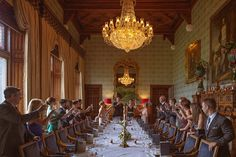 The bride wore a black wedding dress at Ashford Castle lawn ceremony Irish Wedding, Wedding Story, Black Wedding Gowns, Ashford Castle, Wearing Black, Real Weddings, Ceiling Lights, Traditional, Table Decorations