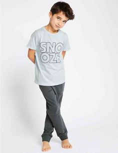 Buy the Pure Cotton Snooze Pyjamas Years) from Marks and Spencer's range. Boys Pajamas, Pyjamas, Barefoot Kids, Kids Fashion Boy, Child Models, Tween, Cute Boys, Rooms, Pure Products
