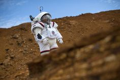 Colombian astronaut Diego Urbina tests the Gandolfi 2 spacesuit during the Moonwalk project's first Mars mission simulation in the southwestern Spanish town of Minas de Riotinto, Huelva province, on April 22, 2016. The goal of project MOONWALK is to develop and test technologies and training procedures for future human missions to Moon and Mars.