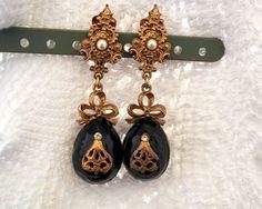 Repurpose clip-on earrings. Black Enamel Russian Royalty Style Dangle by SokolProjectsVintage
