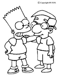 bart and his friend coloring page do you like this bart and his friend coloring page there are many others in the simpsons coloring pages