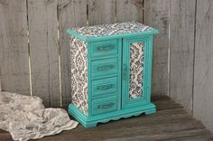 Jewelry Box, Jewelry Armoire, Shabby Chic, Tiffany Blue, Aqua, Hand Painted, Damask, Decoupage, Distressed by TheVintageArtistry on Etsy