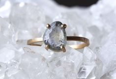 Custom Natural Rose Cut Sapphire Ring |  Alexis Russell Jewelry