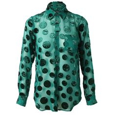 JUNYA WATANABE Semi-sheer shirt with velvet polka-dots ($825) ❤ liked on Polyvore