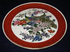 "Satsuma Peacock Dinner Plate, 10 1/2"" Across, Deep Red Rim, Gold"