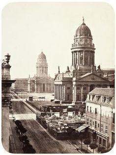 Berlin 1863 Blick von der Markgrafenstrasse zum Gendarmenmarkt
