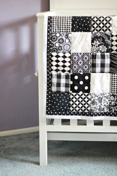 black and white patchwork quilt