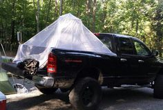 Truck bed tent w/ air mattress . Made from pvc pipes & mosquito netting.-❤DACNO