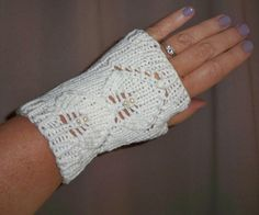 Fingerless Gloves Beaded Mitts Wrist Warmer Silk Wedding Bridal White Lace Hand Knit Women's Pearls