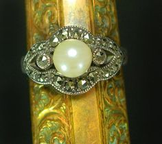 Vintage Edwardian Ring sterling PEARL and by vintagesparkles
