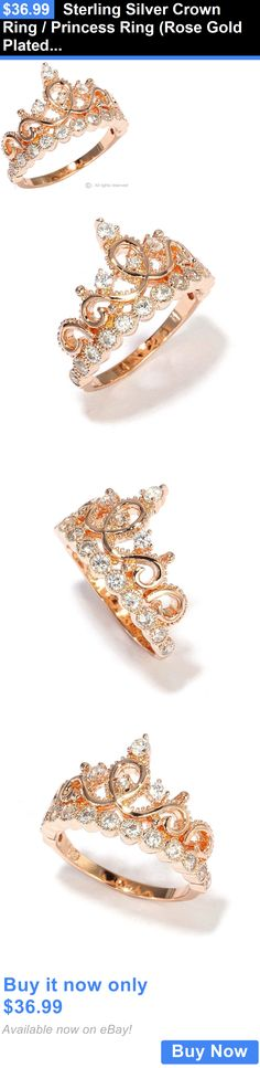 Women Jewelry: Sterling Silver Crown Ring / Princess Ring (Rose Gold Plated) BUY IT NOW ONLY: $36.99