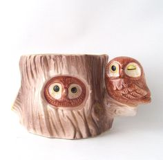 vintage owls perched in a tree hole planter by RecycleBuyVintage, $10.00