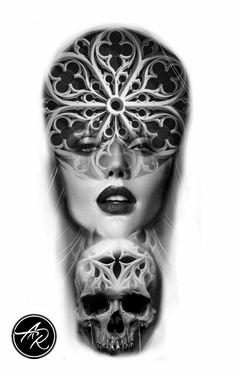 Tatuagemfeminina caveira, skull tattoo Skull Tattoos, Face Tattoos, Sleeve Tattoos, Modern Tattoos, Unique Tattoos, Dark Tattoo, Religious Tattoos, Chicano, Biomechanical Tattoo