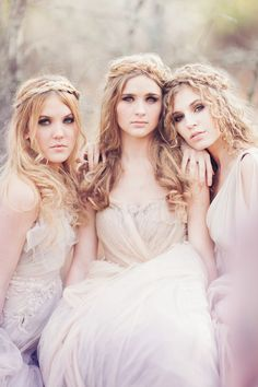 Soft colors and fabric with angelic hair and makeup. Photo by Kristen Curette.