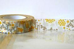 Japanese Washi Tape Little Garden GREY and YELLOW Orange Masking Tape 15mm Wedding, Birthday, Gift Wrap and Packaging