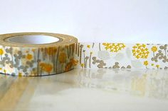Japanese Washi Tape  Little Garden GREY and YELLOW by PrettyTape, $3.50