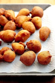 These are so tasty! It's hard to eat just one. Beer Batter Hush Puppies Recipe shewearsmanyhats.com